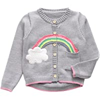 UNIQUEONE Infant Baby Boys Girls Fleece Jacket Rainbow Long Sleeve Cardigan Sweater