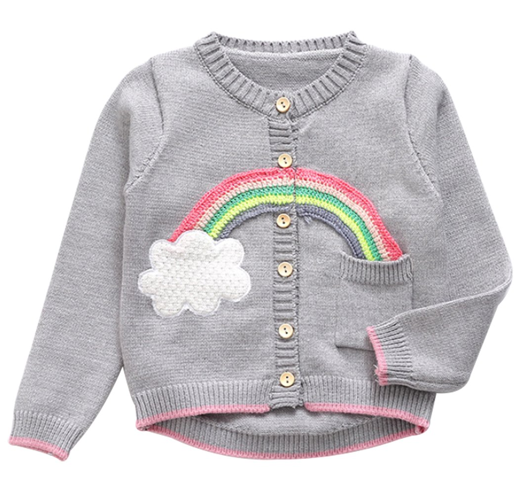 UNIQUEONE Infant Baby Boys Girls Fleece Jacket Rainbow Long Sleeve Cardigan Sweater Size 12-18Months/Tag100 (Gray)