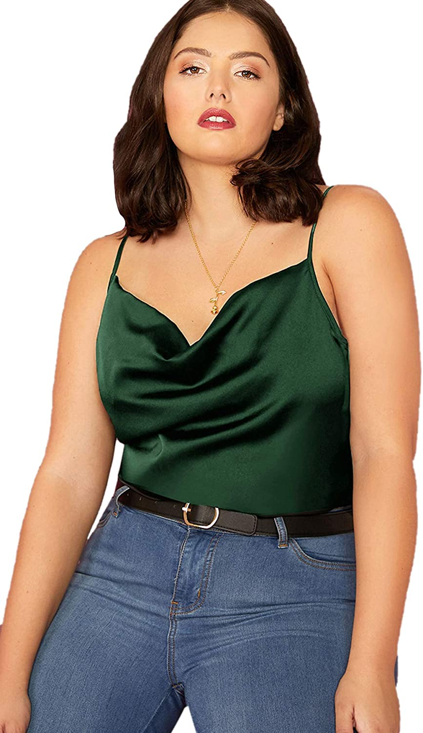 Romwe Womens Plus Size Draped Neck Casual Spaghetti Strap Satin Cami Tank Top