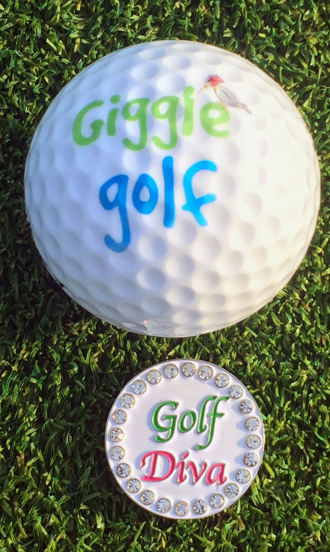 Giggle Golf Women's Golf Sock Pack - Pair Of Golf Diva Socks & A Bling Ball Marker With Hat Clip