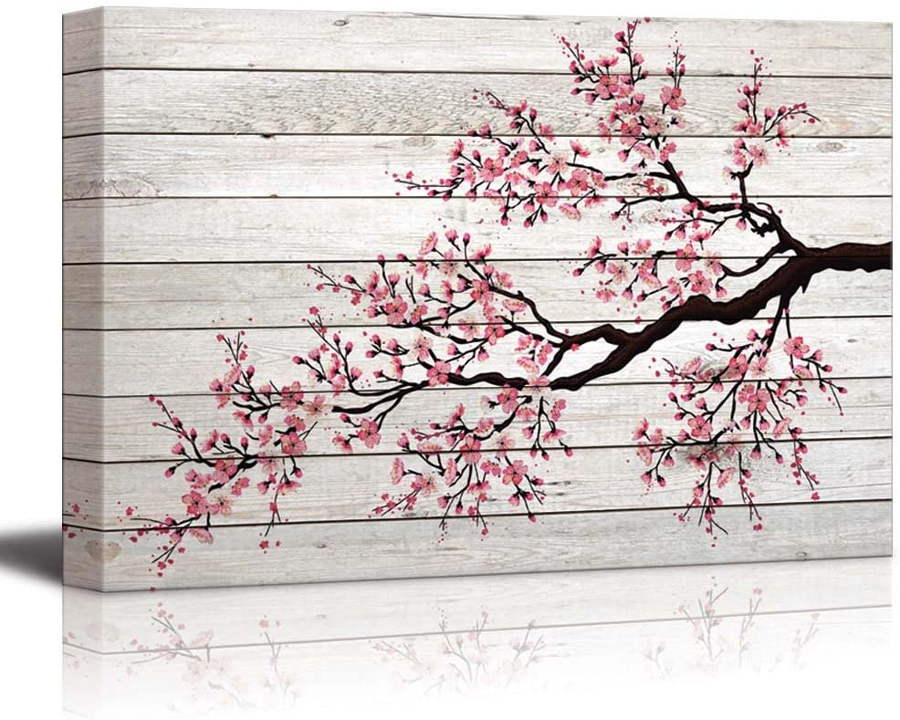 wall26 - Illustration of a Cherry Blossom Branch Over Wood Panels - Canvas Art Home Decor - 24x36 inches