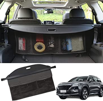 Amazon Com Marretooauto Upgrade Version Cargo Cover With Extra Storage Net Rear Trunk For Hyundai Santa Fe 5 Seats 2019 2020 Automotive