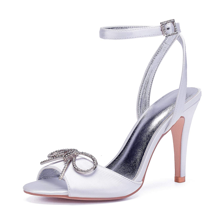 blanc LHWAN Chaussures de mariée dame dame dame à bout ouvert pompes satin croisé sangle cheville talons hauts cristal bow broche partie prom 614