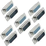 Sourcingmap 15 broches femelle vers mâle avec connecteurs plaqués-Type Adaptateur Lot de 5