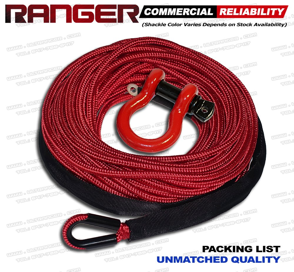 Ranger 1//4 x 50 Jacket UHMWPE Synthetic Winch Rope 7,500 LBs 6 MM x 15 M for UTV//ATV Winch RANGER ULTRANGER T/&HI-B07FBDB6PN
