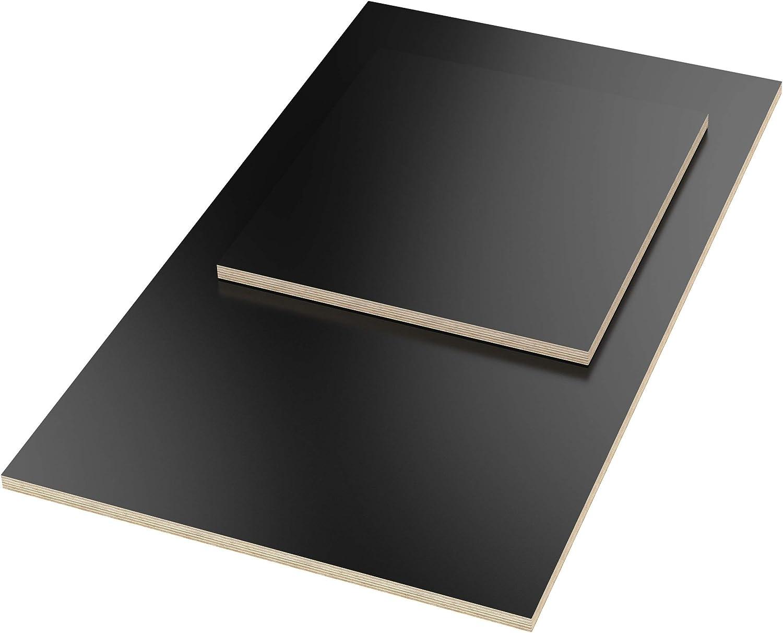 rectangulaire 160x40 cm AUPROTEC 18mm Plateau de Table noir 1600 mm x 400 mm Contreplaqu/é rev/êtu en m/élamine 40cm-200cm au choix Panneau de Contreplaqu/é en Bouleau