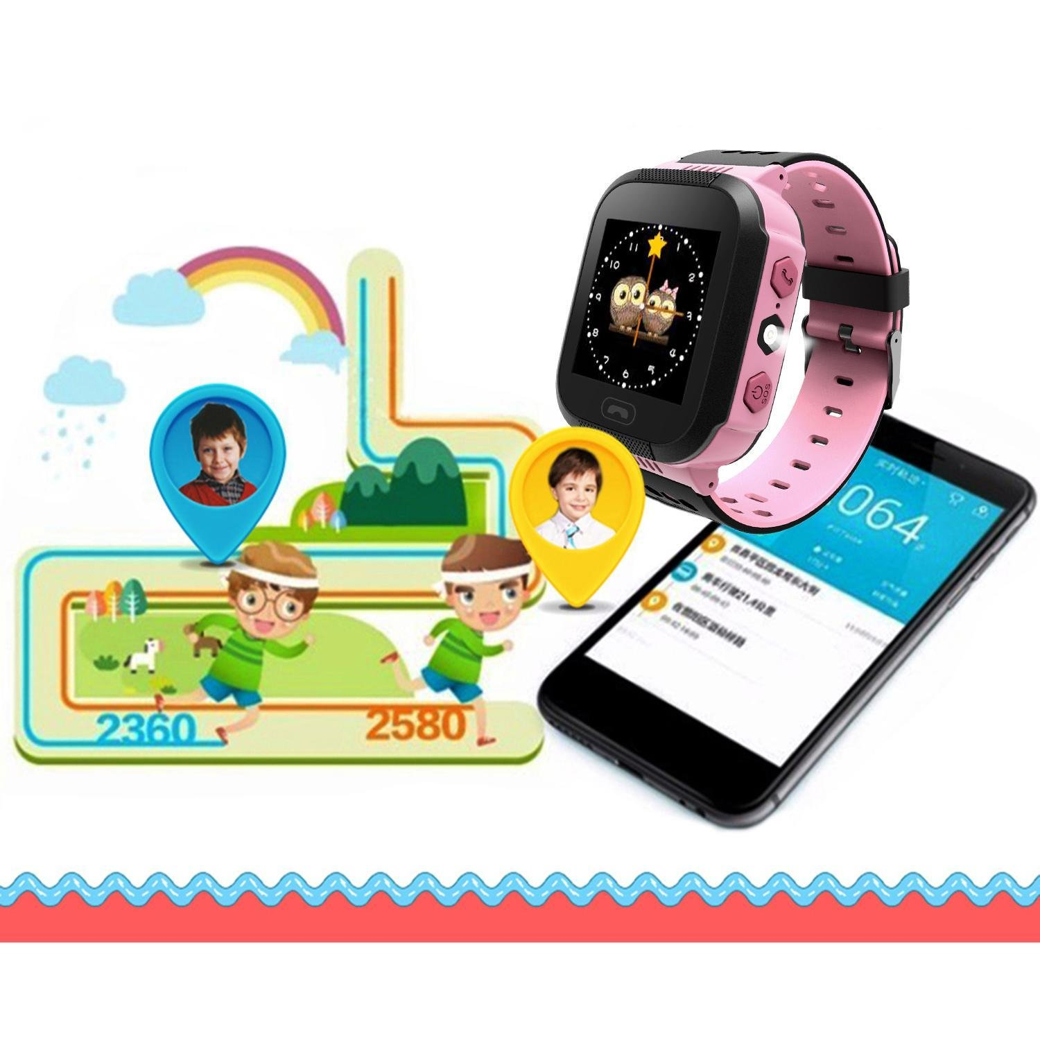 Goodfans GPRS Position Smart Watch,Children Boys and Girls Base Station Positioning Wrist GM8 Smart Watch Gift
