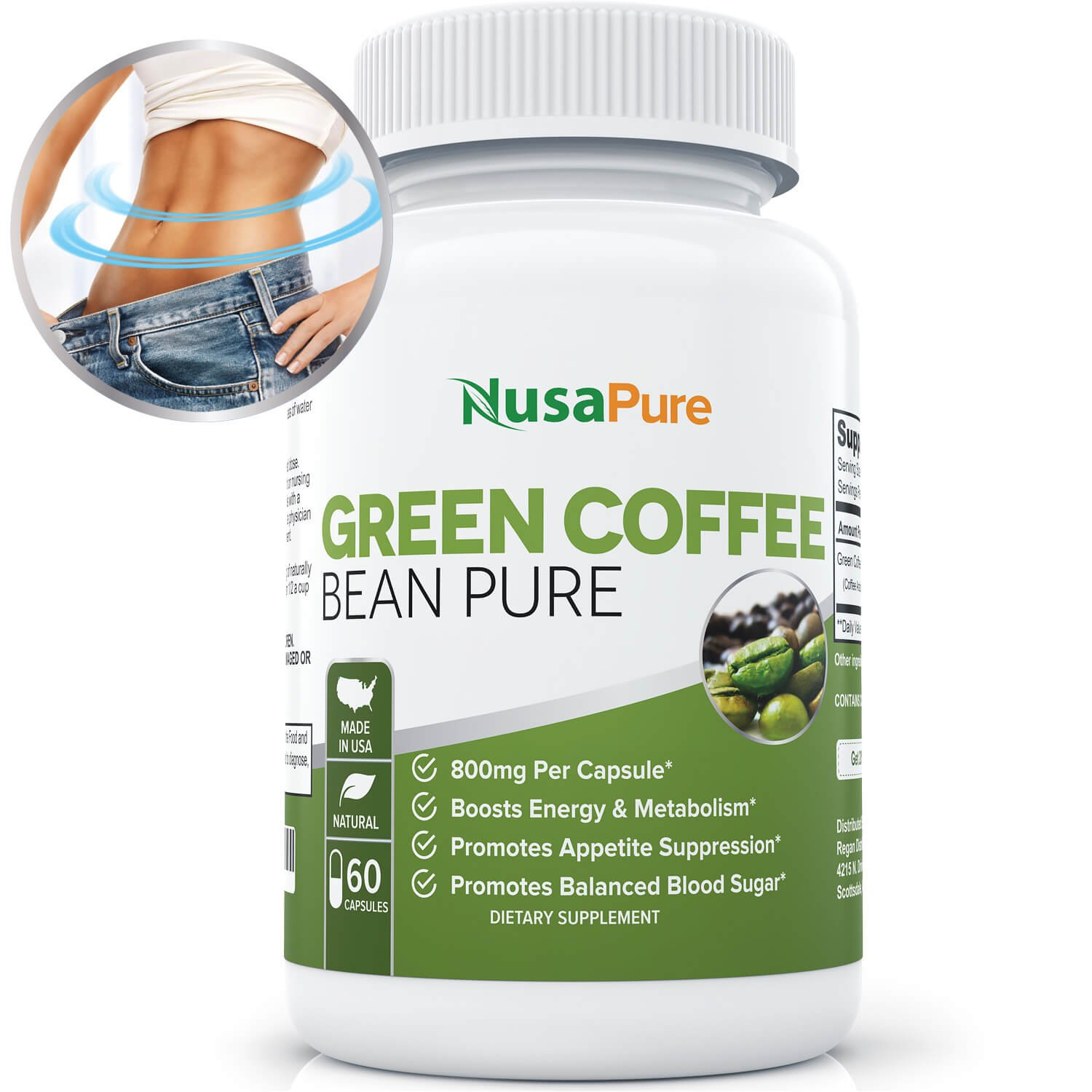 NusaPure Green Coffee Bean Extract Weight Loss Supplement, 60 Capsules