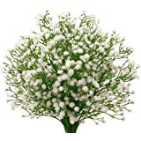 "Senjie 9pcs Artificial fake Flowers 21"" Gypsophila Baby Breath Bouquets Silica Gel for Wedding Home DIY Decor White"