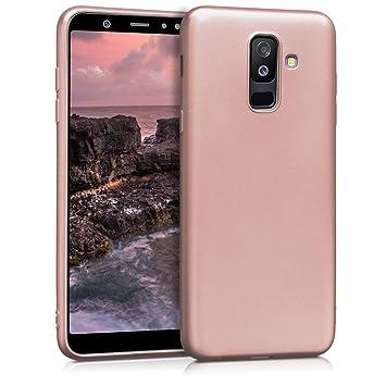 kwmobile Funda para Samsung Galaxy A6+/A6 Plus (2018) - Carcasa para móvil en TPU Silicona - Protector Trasero en Oro Rosa Metalizado