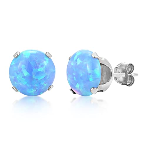 3mm Simulated Blue Opal Round Stud Earrings .925 Sterling Silver Rhodium Finish pQ5grPW