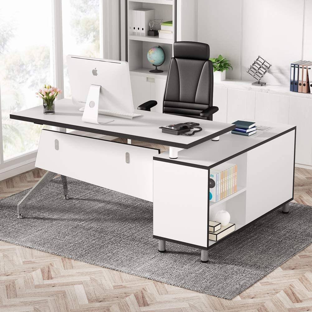 Tribesigns Modern L-Shaped Office Desk with File Cabinet, 55 inch Large Executive Desk Corner Computer Desk Workstation with Storage Drawers and Tower Shelf for Home Office