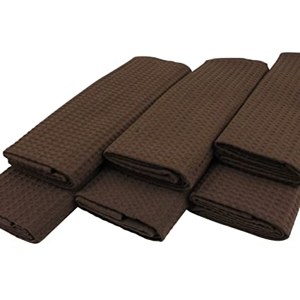Paños (6 unidades de 100% algodón Suela de pique en Uni marrón oscuro marrón