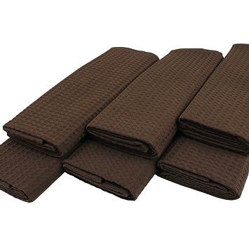 Paños (6 unidades de 100% algodón Suela de pique en Uni marrón oscuro marrón chocolate.