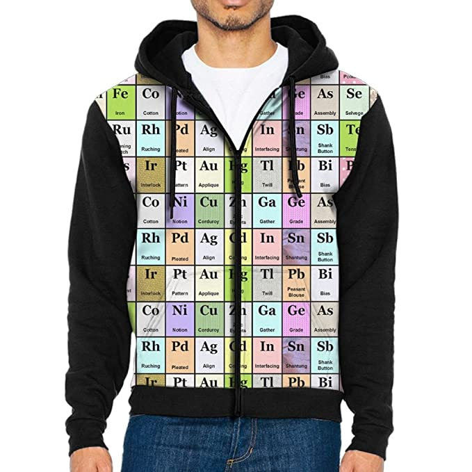 e4d272630 Image Unavailable. Image not available for. Color: NUNOFOG Elements  Periodic Table Men's Full Zipper Hoodies Outdoor Warm Sweatshirt
