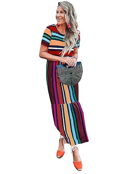 3d5e6646b373 FSSTORY Womens Boho Casual Loose Rainbow Stripes Print Short Sleeve ...
