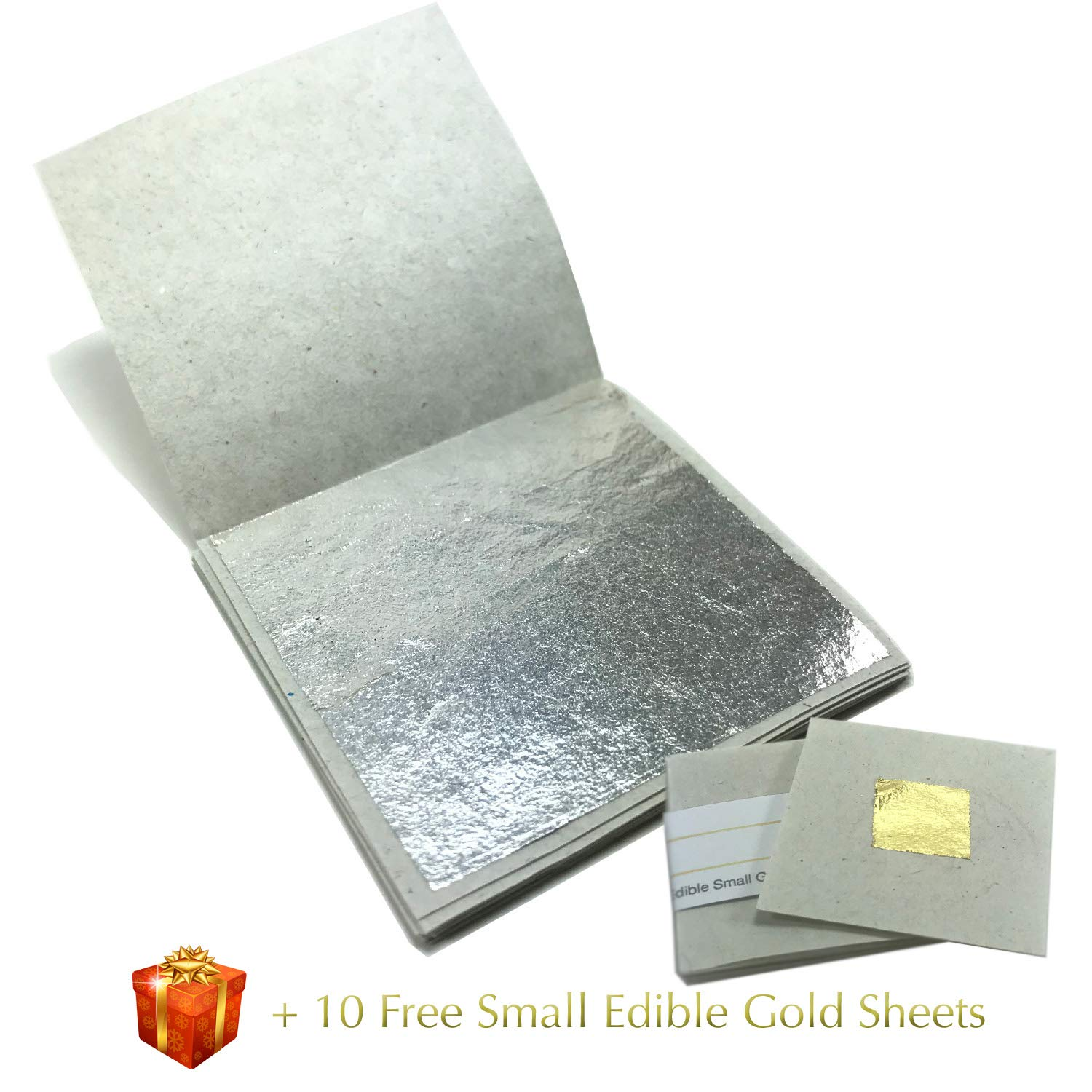 Genuine Edible Silver Leaf Sheets - by Goldleafking 30 Sheets - 2.0 x 2.0 inches for Cooking, Cake & Chocolate, Brownie, Arts, Food Decoration, Gilding, Multi-Purpose + Free Small Gold Leaf x 10