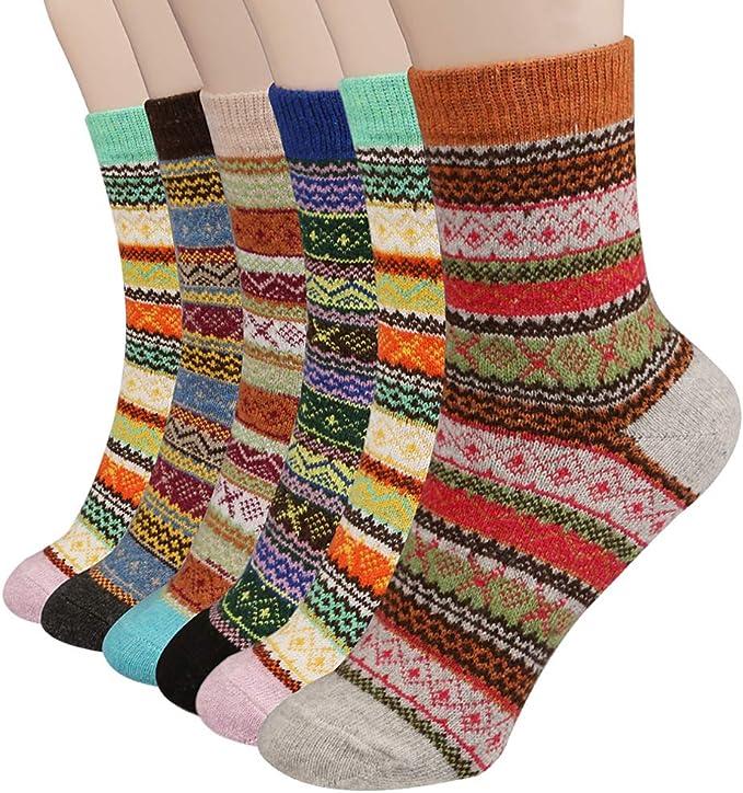 Philonext Calcetines para mujer de 6 pares - Calcetines de Lana Gruesos de Invierno Calientes Calcetines de Invierno Mujer - Calcetines de algodón coloridos de navidad: Amazon.es: Ropa y accesorios