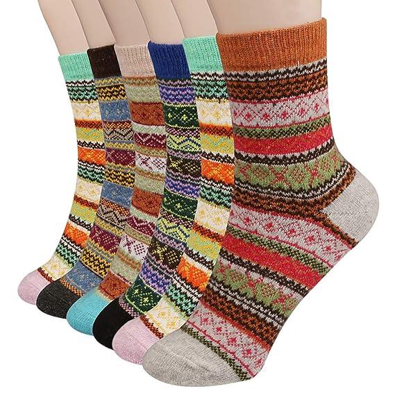 Philonext Calcetines para mujer de 6 pares - calcetines de lana gruesos de invierno en frío de invierno - Calcetines de algodón coloridos de navidad: ...