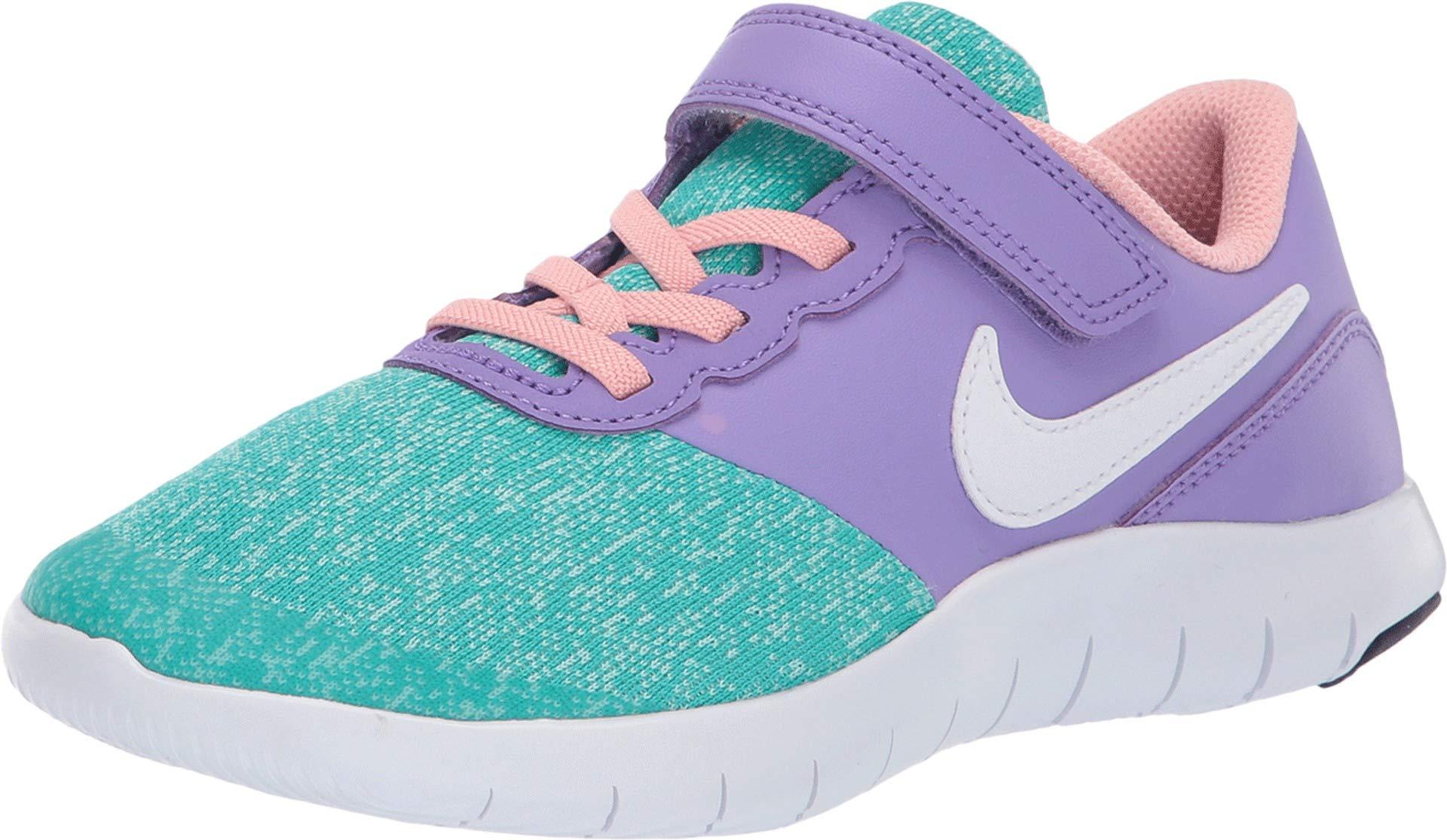 Nike Kids Girl's Flex Contact (Little Kid) Space Purple/White/Hyper Jade 1 M US Little Kid