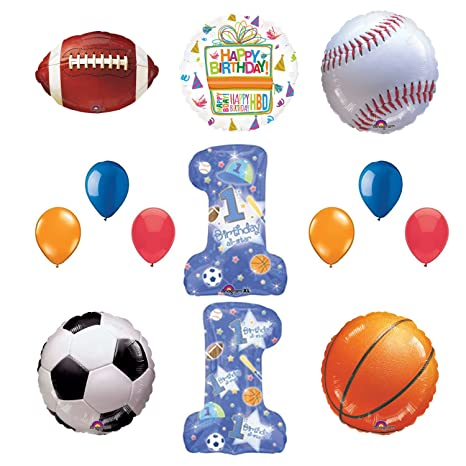 8b08f9d9d421c Amazon.com: 1st Birthday Party Supplies and All Star Sports Balloon ...
