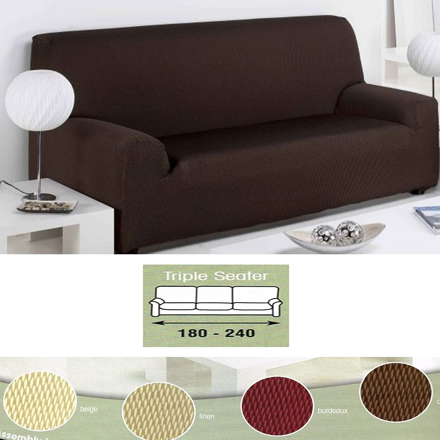 Easy Fit Stretch Elastic Couch Settee Three Seater Sofa Beige