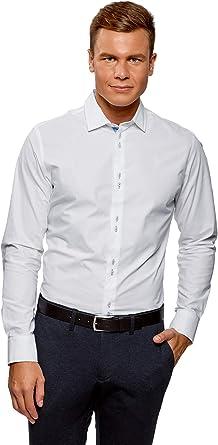 oodji Ultra Hombre Camisa Entallada de Manga Larga