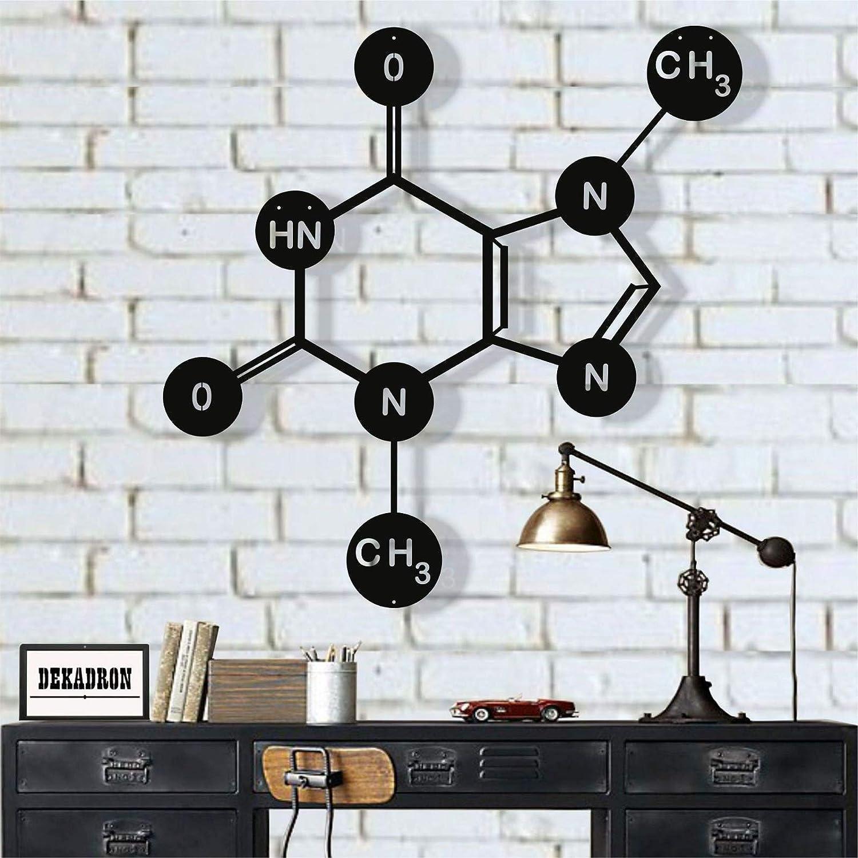 "Metal Wall Art, Theobromine (Chocolate) Molecule, Metal Wall Decor, Symbol Nerd Art, Science Art, Biology Chemistry Art Office Decoration (35""W x 35""H / 90x90 cm)"