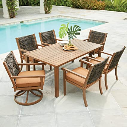 Hampton Bay Kapolei 7 Piece Wicker Outdoor Dining Set With Reddish Brown  Cushion