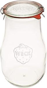 Weck Jars - Weck Tulip Jars 2.5 Liter - Sour Dough Starter Jars - Large Glass Jars for Sourdough - Starter Jar with Glass Lid - Tulip Jar with Wide Mouth - Suitable for Canning and Storage - (1 Jar)