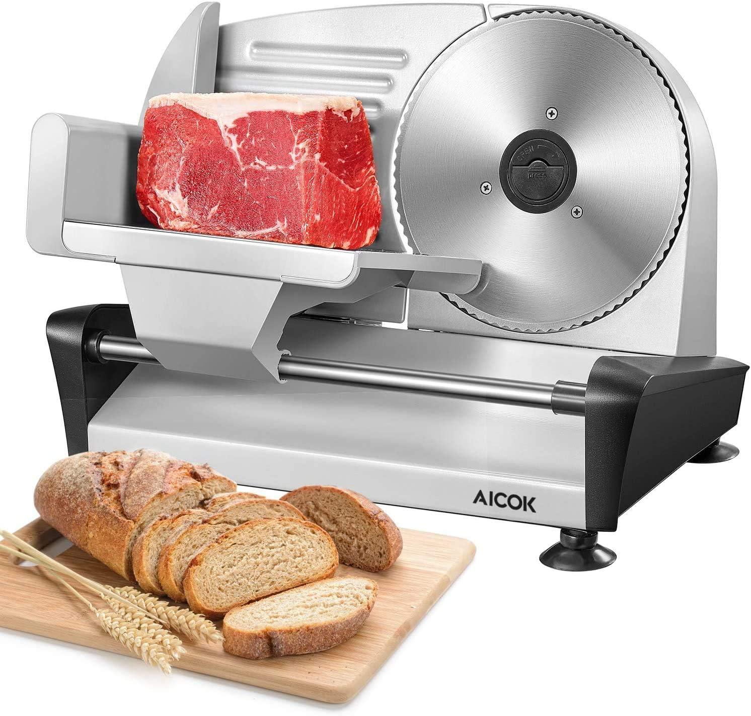 Cortafiambre Electrico, AICOK Maquina de Cortar Fiambre 150W, 19 cm Cuchillas de Acero Inoxidable para Embutido o Pan, Plateado