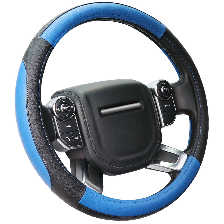 COFIT Microfiber Leather Steering Wheel Cover Universal Size L 39-40.5cm Black