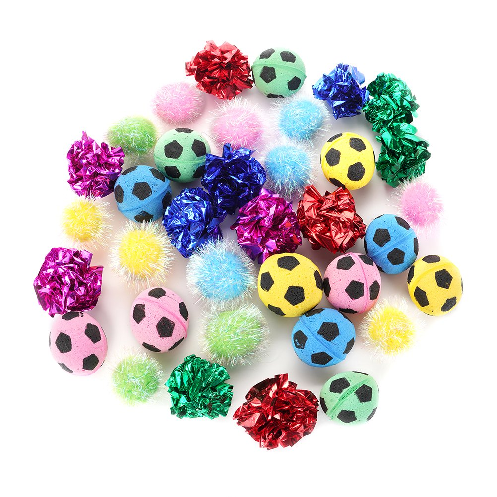 PUPTECK 36 packs Assorted Color Cat Ball Toy Set - Crinkle Balls/Sparkle Balls/Sponge Soccer Balls