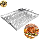 Grill Pan, Grill Topper Stainless Steel Charcoal Gas Grill Accessories BBQ Grill Wok with Handles for Vegetables Meat Grill Pans for Outdoor Grilling Cooking