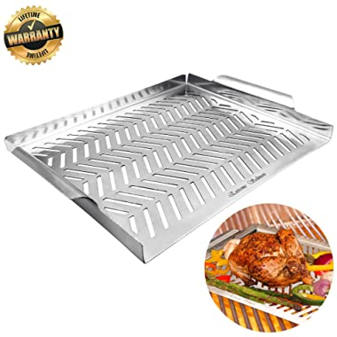 Grill Pan, Grill Topper Stainless Steel Charcoal Grill Accessories for Men BBQ Grill Wok with Handles Vegetables Grill Cookware for Outdoor Grill Cooking