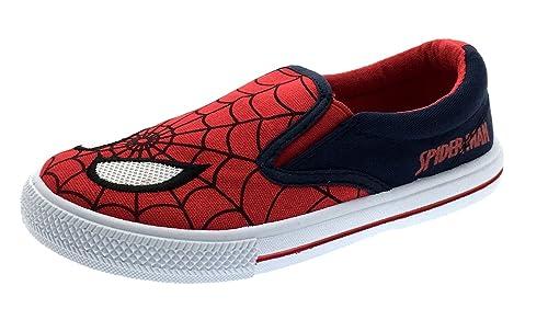 Kids Boys Ultimate Spiderman Pompe di Tela Piatto Estate Scarpe da Taglia UK 8?�C?1, Rosso