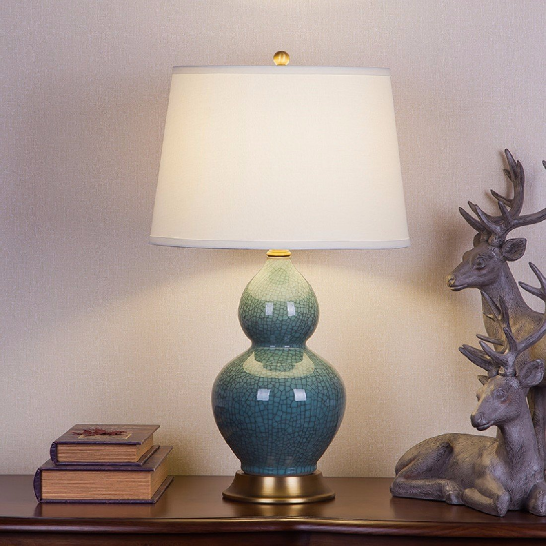 YFF@ILU im amerikanischen Stil retro Kupfer keramische Lampe, Wohnzimmer Schlafzimmer Bett Dekoration, Druckschalter