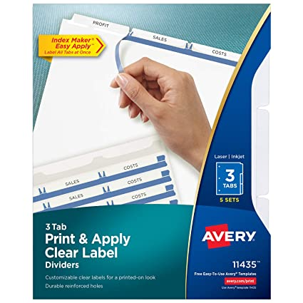 avery 3 tab binder dividers easy print apply clear label strip index