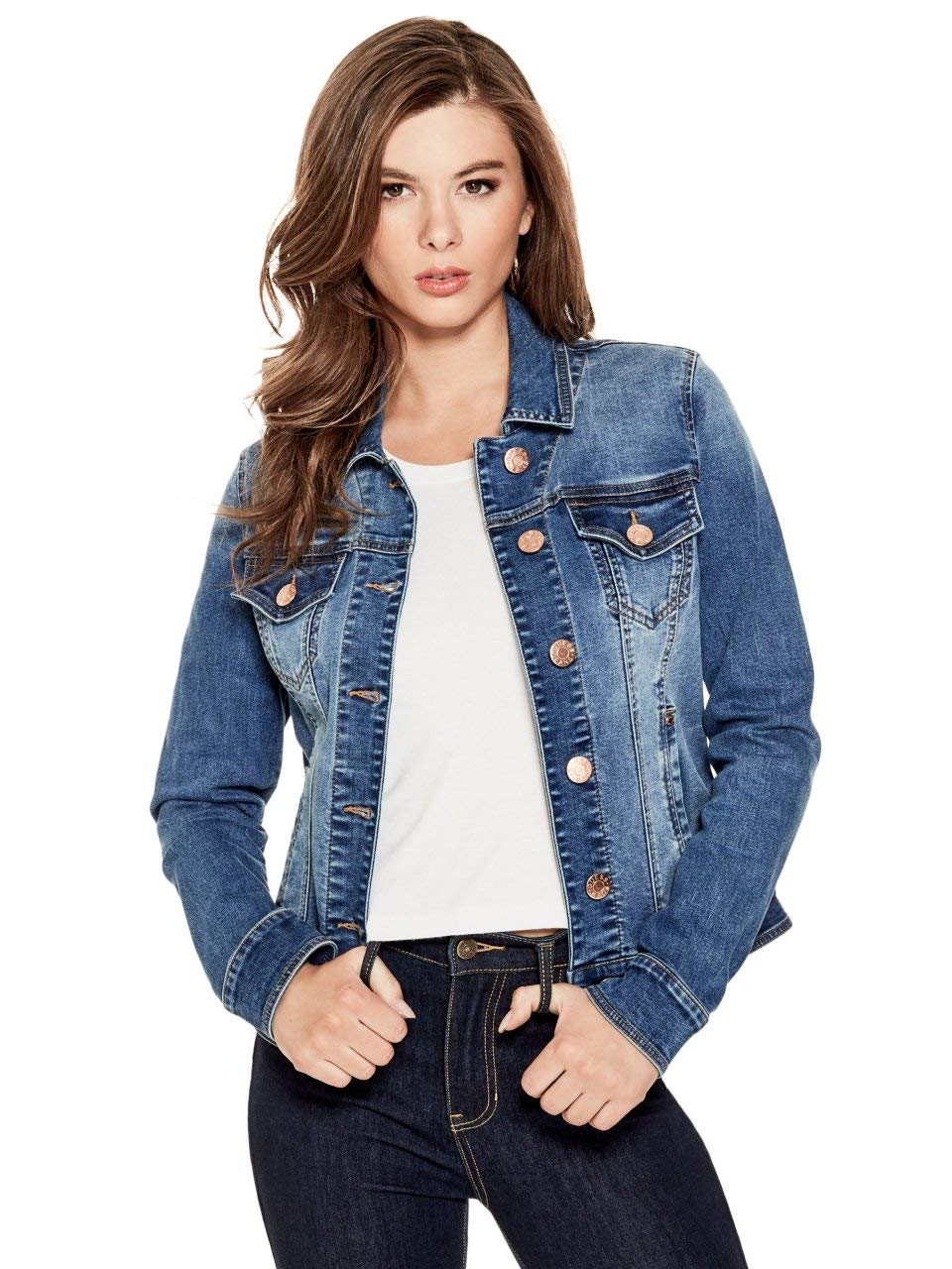GUESS Factory Women's Alisana Basic Button Down Denim Jacket