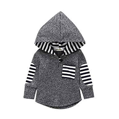 707e83d03 Amazon.com: KONIGHT Kids Toddler Baby Boys Girls Fall Outfit Stripe Pocket  Hoodie Jackets Coat Clothes Tops Clothing: Clothing