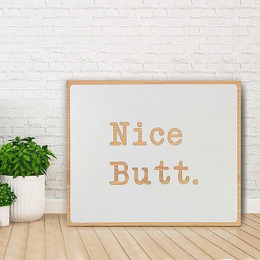 Home Decor Bathroom Sign Bath NICE BUTT Farmhouse Rustic Wood Sign Funny
