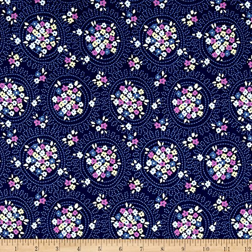 Riley Blake Blue Carolina Cluster Navy Fabric By The (Christopher Designs)
