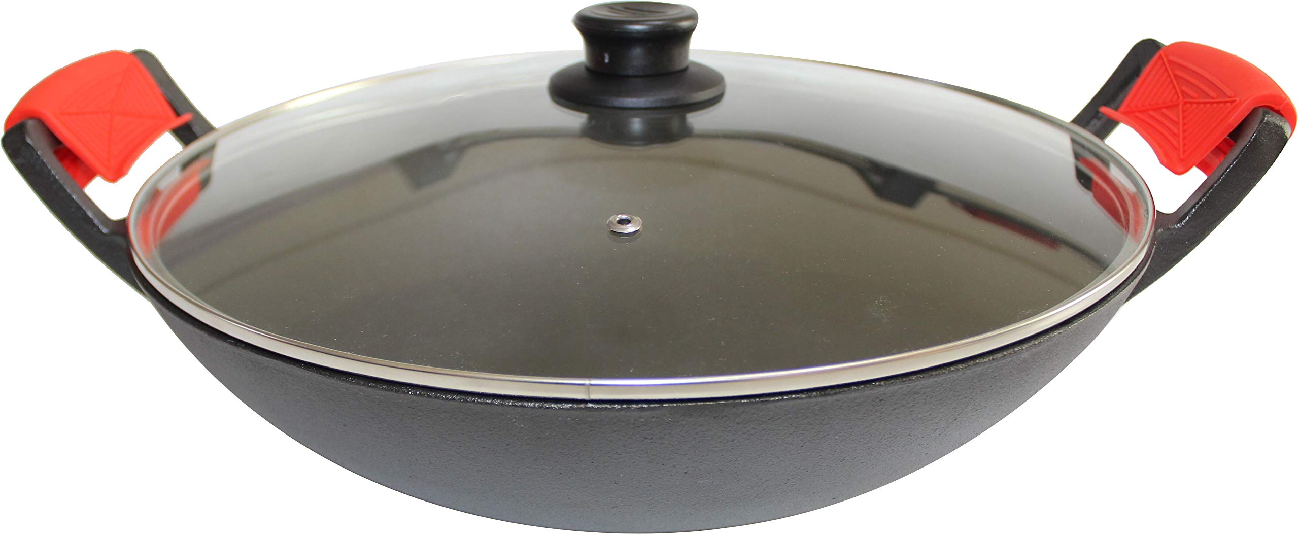 14-Inch Cast Iron Wok Set (Pre-Seasoned), Glass Lid & Silicone Hot Handle Holders by Crucible Cookware (Image #4)