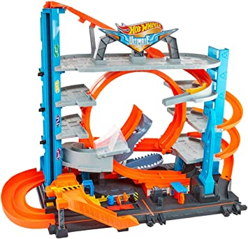 Hot Wheels FTB69 City Ultimate Garage Set da gioco collegabile per piccole auto con circuito e piste, Loop a doppia corsia, Ascensore e Squalo, per