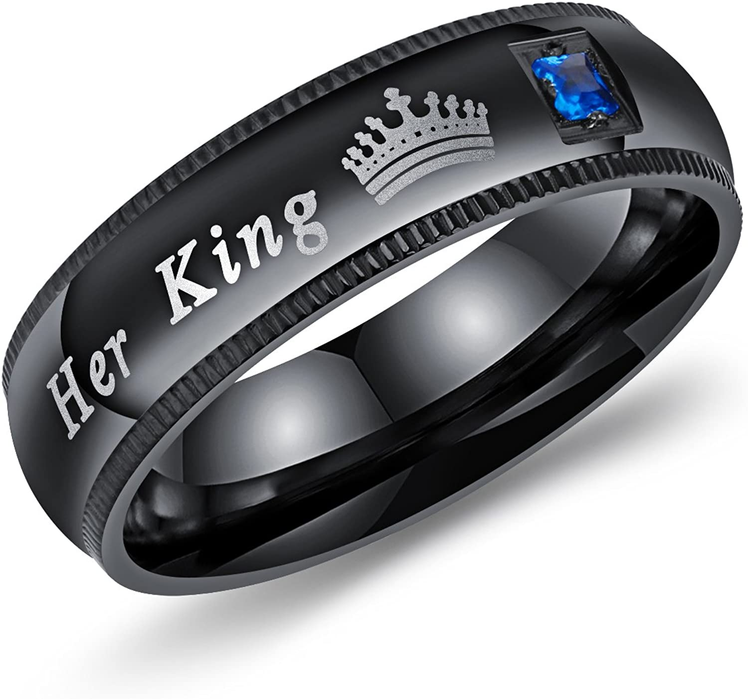 Mintik His Hers Cubic Zirconia Ring Set Stainless Steel Mens Womens Couples Eternity Engagement Wedding Christmas Ring Band