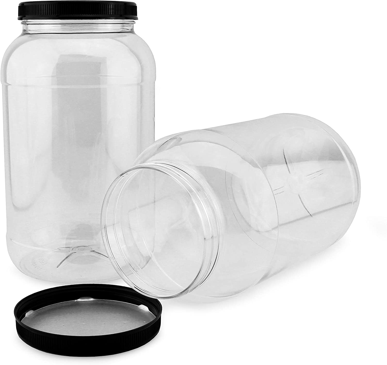 6 Pack 4 oz  Clear Round Wide Mouth Plastic Jars With Black Lid BPA FREE
