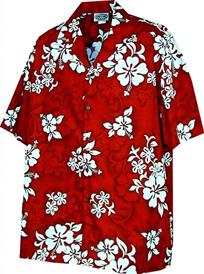 Hawaiian Aloha Shirt Hibiscus Tropical Hibiscus Red Made in Hawaii