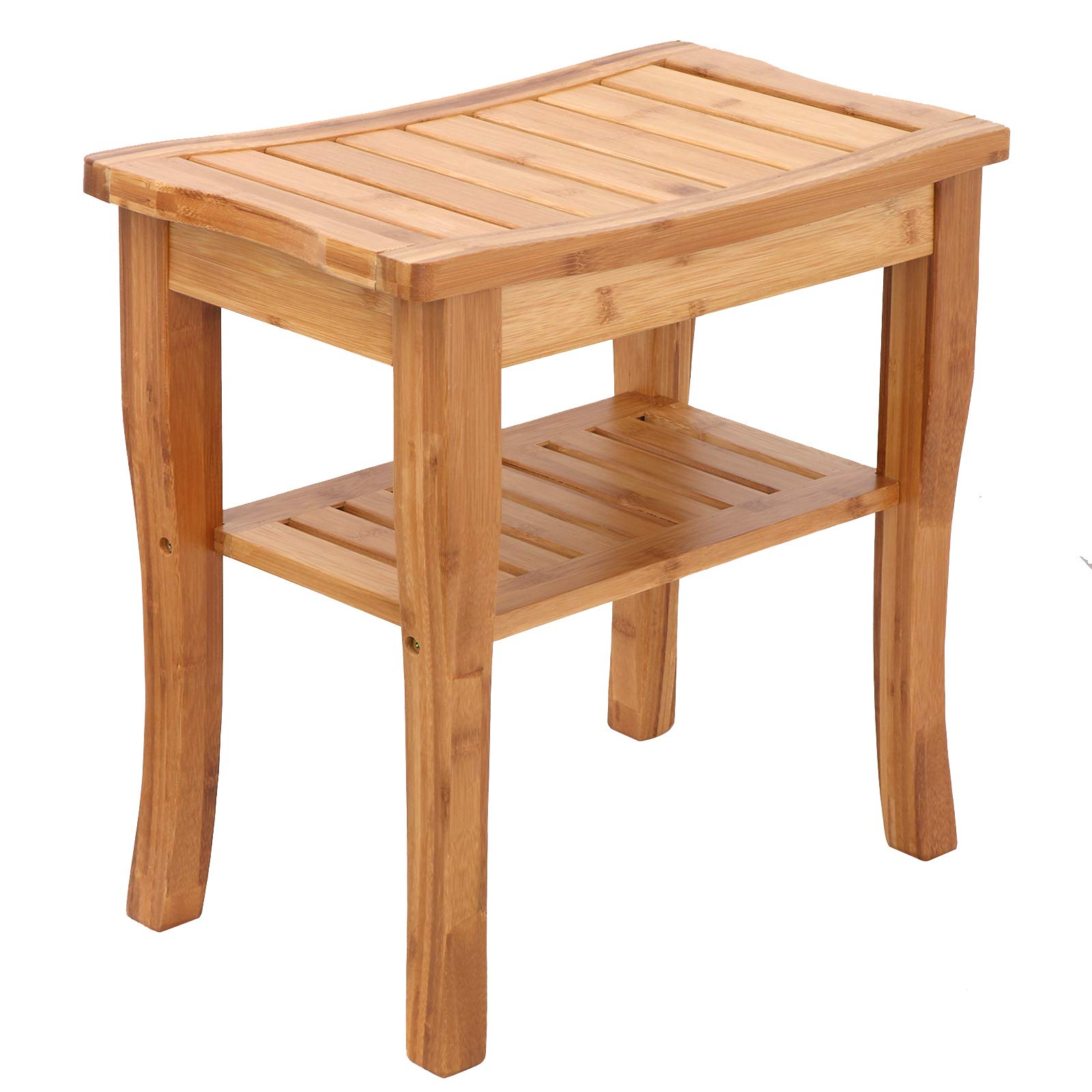 ZENY Bamboo Shower Bath Beach Seat with Storage Shelf Spa Bathing Beach Chair Stool Organizer