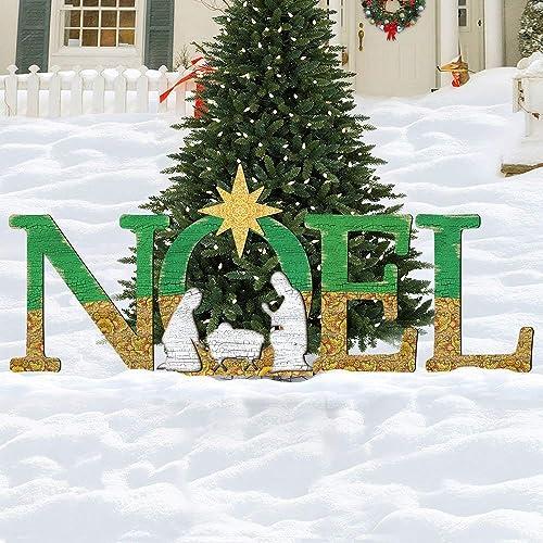 Amazon Com Christmas Noel Nativity Yard Lawn Sign Holly
