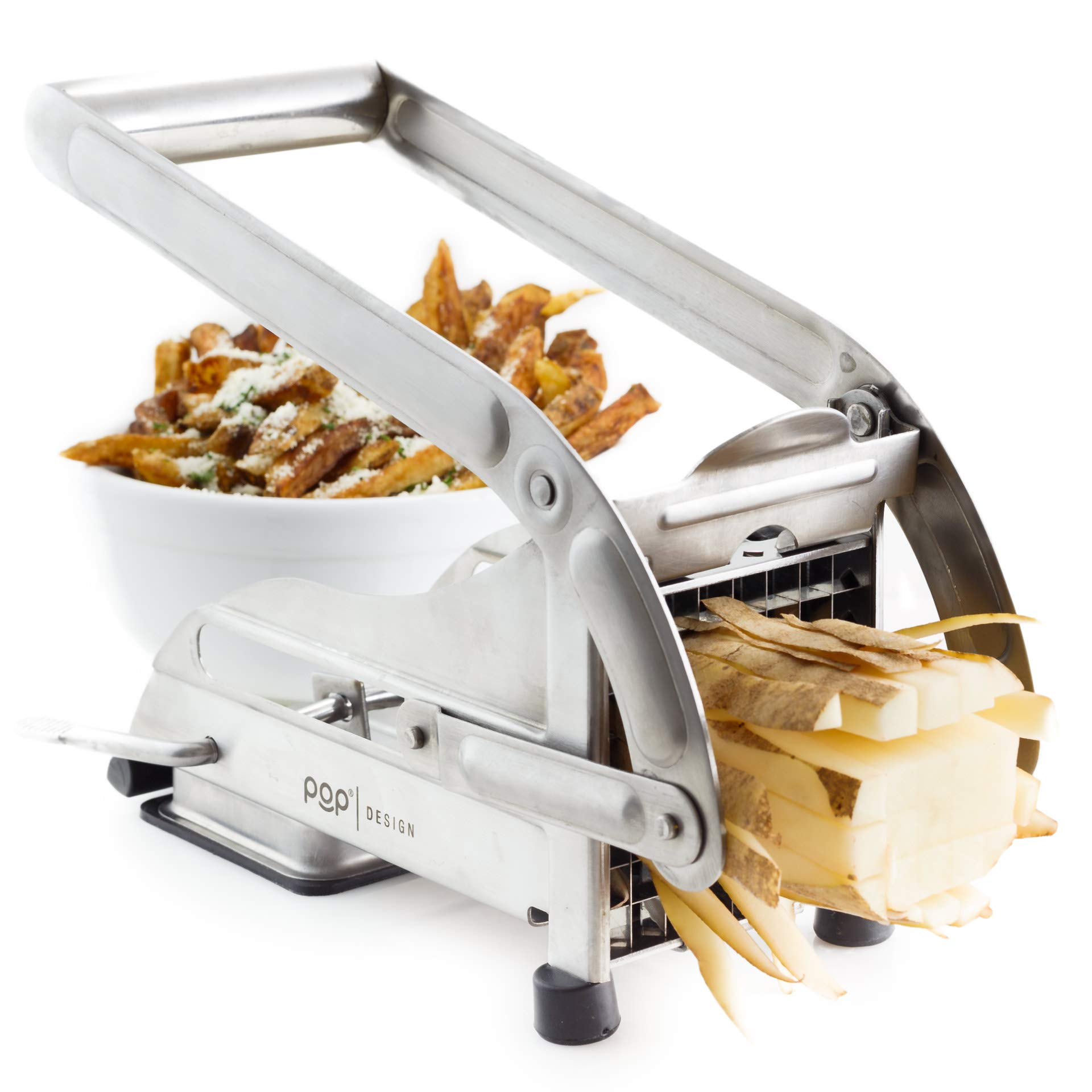 AirFry Mate, Stainless Steel French Fry Cutter, Commercial Grade Vegetable and Potato Slicer, Includes two Blade Size Cutter Options and No-Slip Suction Base, Perfect for Air Fryer Food Preparation by POP